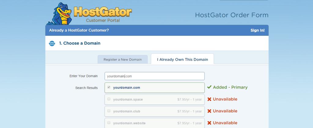 Domain Name on hostgator